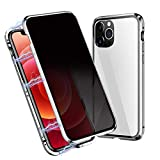Privacidad magnético Funda Compatible con iPhone 12/12 Pro, magnético Adsorción 360 Grados Case Compatible con iPhone 12/12 Pro, Vidrio Templado Anti Espía Metal Bumper Cubierta Cover 6.1''(Plata)