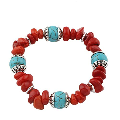 TreasureBay FAB Natural Red Coral and Turquoise Stretchy Beaded Bracelet for Women and Girls