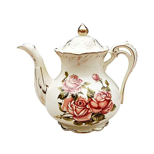 LSS Cafetera de cerámica de Estilo Europeo, Tetera de cerámica Rosa roja Retro, Filtro de cerámica Interno es fácil de Limpiar, Adecuado para café, Regalos de Juego de té