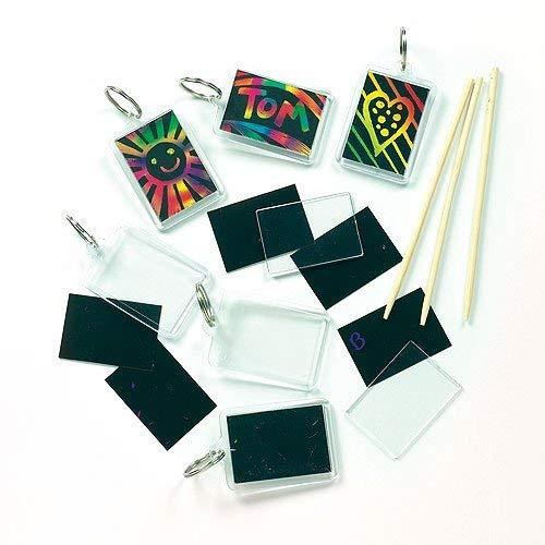 Baker Ross Scratch Art Keyring (Pack of 6) For Kids Arts and Crafts