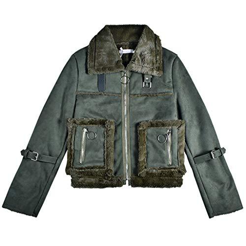 XUEPING Women's Winter Coat, Women's Jacket, Short Leather, Leisure Fashion Loose Keep Warm Winter High Fur Collar Leather Coat S, L ArmyGreen (Size :