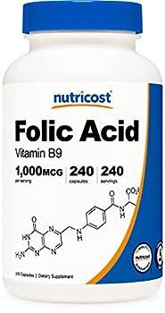 Nutricost Folic Acid  Vitamin B9  1000 mcg 240 Capsules