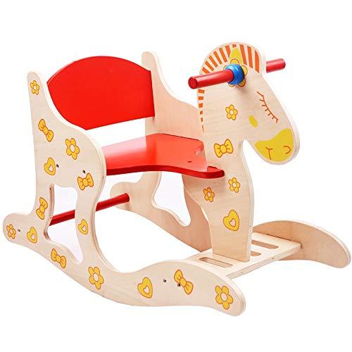 Lihgfw Frühe Bildung Puzzle Kinder Holzpferd Rocking Horse Schaukelstuhl Baby Spielzeug Baby Big Birth Birthday Geschenk Gewicht 35kg Anti-Tipping Sicherheit Rückenlehne (Color : Multi-Colored)