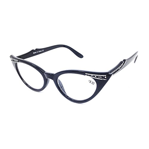 Dawnzen® Mujer Gafas de Lectura Gafas de Gato Montura, 50\'s Montura Ojo De Gato Lente +3.50 Dioptrías Vintage gafas para Presbicia Vista Cansada