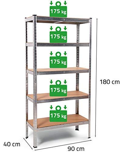 Ondis24 Metallregal Thomas, Lagerregal 90 x 40 x 180 (H) cm, Kellerregal 875kg silber, Steckregal mit 5 Einlegeböden höhenverstellbar, Werkstattregal 5x 175kg belastbar, funktionales Schwerlastregal