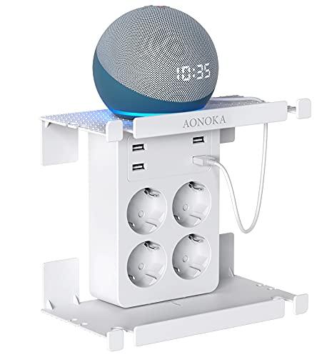 Enchufe USB Pared, AONOKA Ladron Enchufe Multiple con 4 USB (2.4A) y 4 Tomas de CA, Cargador USB con Doble Estantería (Retirable),Enchufe Pared Usado para Baño,Sala o Habitación.Blanco
