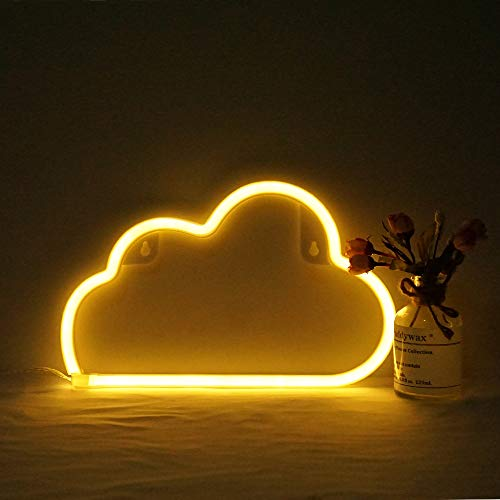 Cloud Neon Light, Cute Neon Cloud Sign, Battery or USB Powered Night Light as Wall Decor for Kids Room, Bedroom, Festival, Party (Yellow)