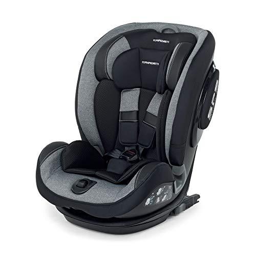 Foppapedretti Isoplus Seggiolino Auto Isofix e Dualfix Gruppo 1 2 3, 9-36 kg, per Bambini da 9 Mesi Fino a 12 Anni, Grigio (Carbon)