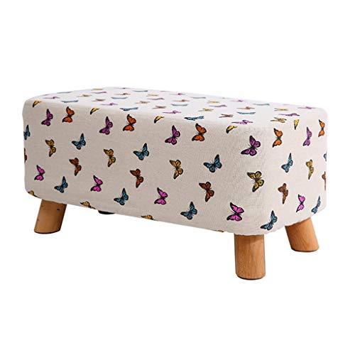 QQXX kruk schoenen bank pad pedalen van hout bekleed kruk taupe make-up kruk vlinder patroon linnen stof 4 houten poten gang woonkamer 60x28x28cm