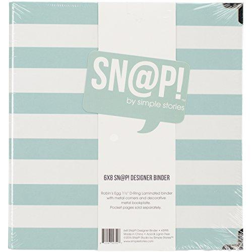 Simple Stories snatp. Robins Egg gestreift Designer Binder, 15,2x 20,3cm