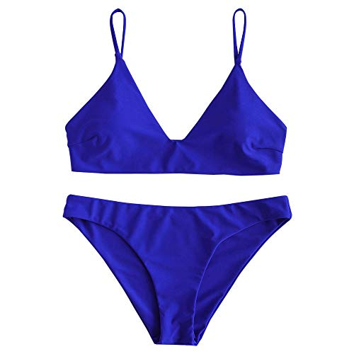 ZAFUL Damen Bikini Sets, Push-Up Spaghettiträger Bikini Obertiel Hoher Bund Pflanzenmuster Badehose Sommer,Einfarbig - Kobaltblau,S