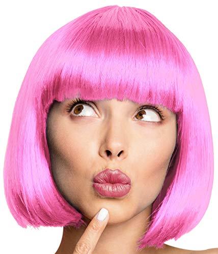 Balinco Bob Perücke Wig Cabaret Pagenkopf Pagen Charleston Perücken für Karneval / Fasching & Motto Party - 13 Farben (Rosa)