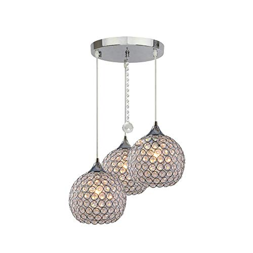 3 luces modernas esfera de cristal colgante lámpara de techo Chandelier Light Lamp