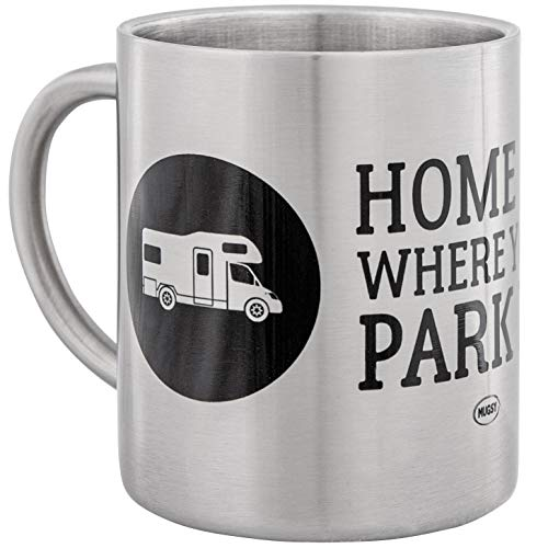 Hochwertige Edelstahltasse mit Camper Design | Home is Where You Park IT | ideal für Camping und Outdoor | mit Alkoven Wohnmobil | bruchsicher und leicht | doppelwandige Isolation | von MUGSY.de