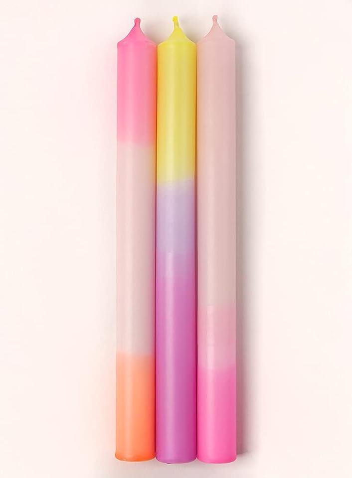 3er-Pack handgetunkte Dipdye Kerzen Rosa mit Neon Gelb, Orange, Lila und Pink