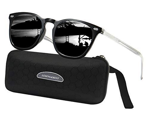LEDING&BEST Sonnenbrille für Herren Damen Polarisierte/Radfahren Golfen Fahren Angeln Klettern Vintage-Brille Outdoor-Sportarten Strand Sonnenbrillen (Silver)