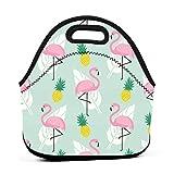 Lonchera de neopreno reutilizable, portátil, con diseño de flamencos rosas y hojas de palma, color verde menta