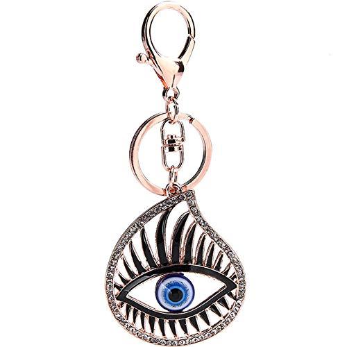 PLUS PO Llaveros colgantes para mujer, accesorios para llaves de coche, llavero de ojo, elegante llavero de diamantes de imitación, llavero para regalo