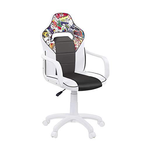DRW Sticker, Silla Gamer, Silla de Oficina Gaming Estudio o Escritorio, Acabado en Símil Piel Blanco - Gris y Sticker, Medidas: 60 cm (Ancho) x 60 cm (Fondo) x 98-108 cm (Alto)