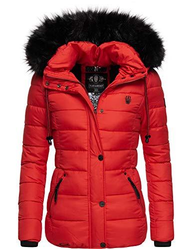 Navahoo Damen Winterjacke Steppjacke mit abnehmbarem Kunstfell Zuckerbiene Rot Gr. L