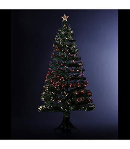FEERIC LIGHTS & CHRISTMAS DECORACIÓN Navidad - Arbol de Navidad Artificial de Fibra óptica + 88 Ramas con Variación Luminosa- Entregado con su pie - Alto 90 cm - Color Verde