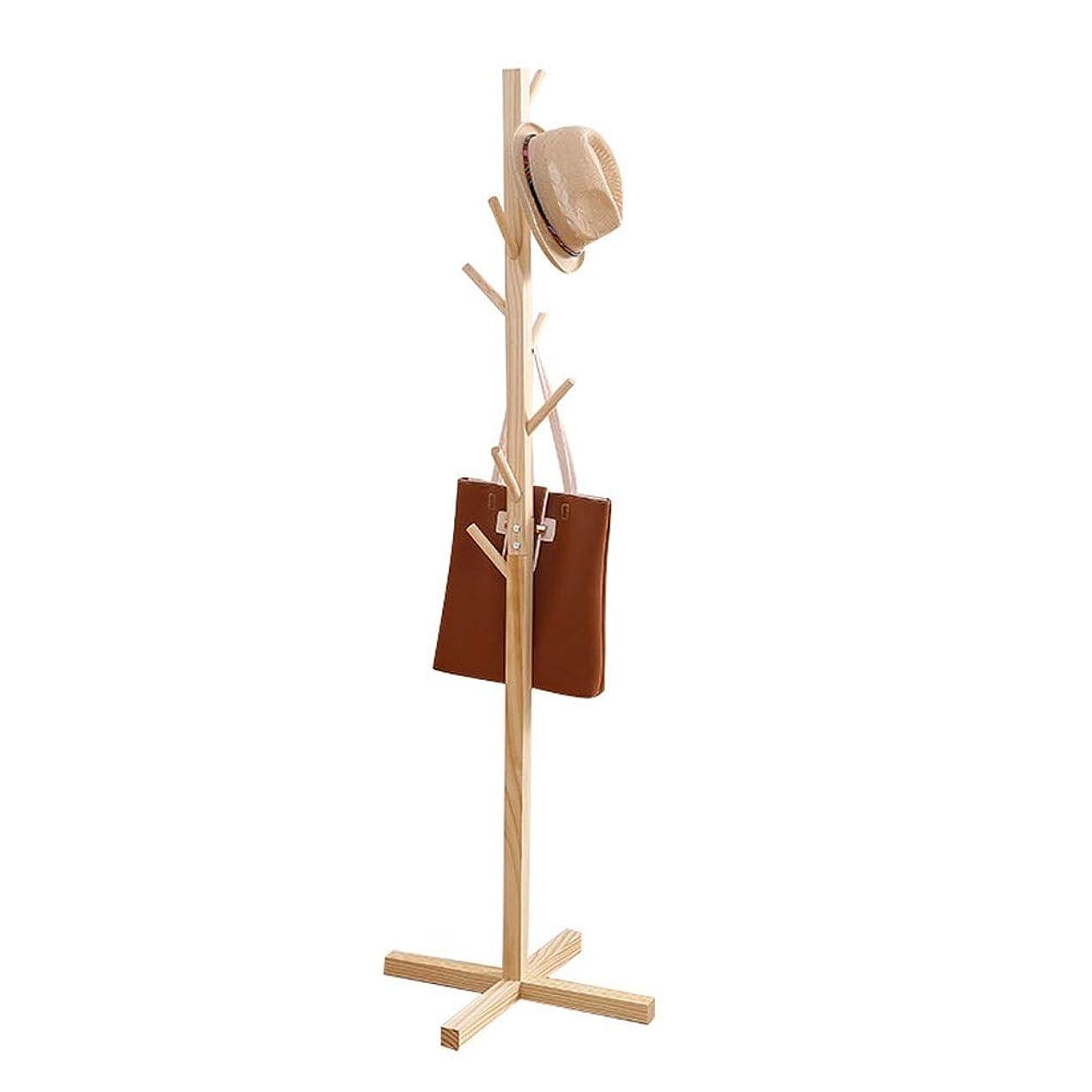 試みポーチ一握りコートハンガー ガーデンコートラック、純木の床シンプルな帽子服スタンド寝室リビングルームコートラックスタンド (Color : Wood color)