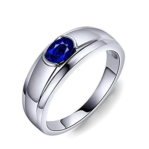 Bishilin Anillo de Compromiso Oro Blanco 750 Clásico Bandas de Boda Azul Zafiro Anillo de Compromiso Aniversario Ring Ajuste Cómodo Forma Ovalada Joyas con Estilo Joyas Elegantes para Mujer Azul