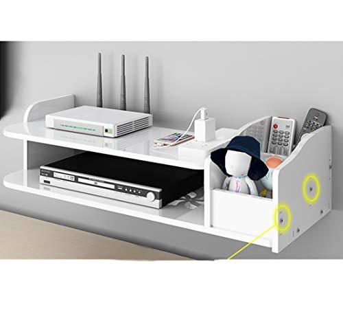 Catekro - Mueble de TV de gran capacidad con WiFi/DVD, caja de almacenamiento para mando a distancia, banco de TV para sala de estar, dormitorio, 39,5 x 19,5 x 12,5 cm
