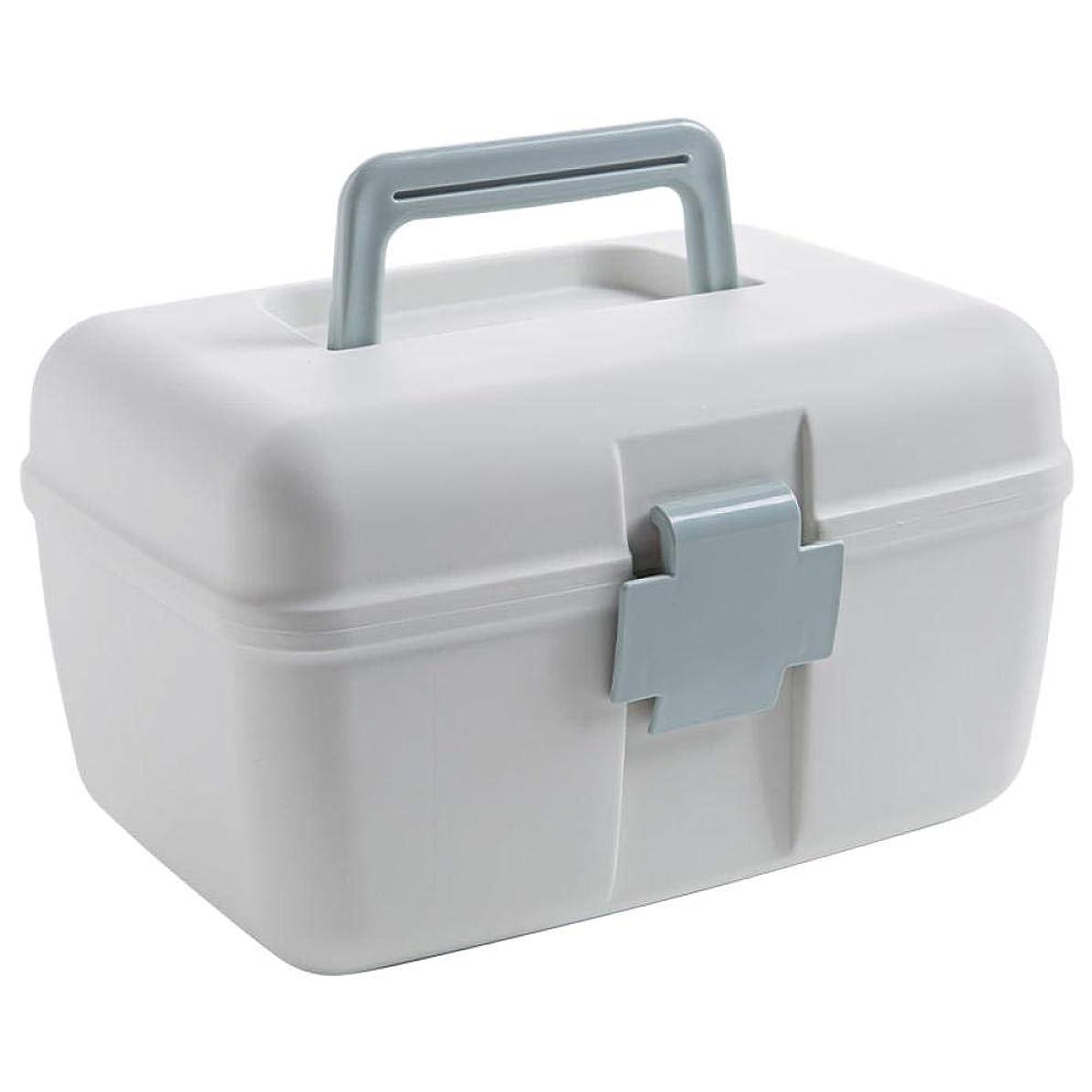 妨げる寛大さ宿題二重層の薬箱家族ポータブルプラスチック小さな薬箱家庭用薬収納ボックス多層収納ボックスライトブルー