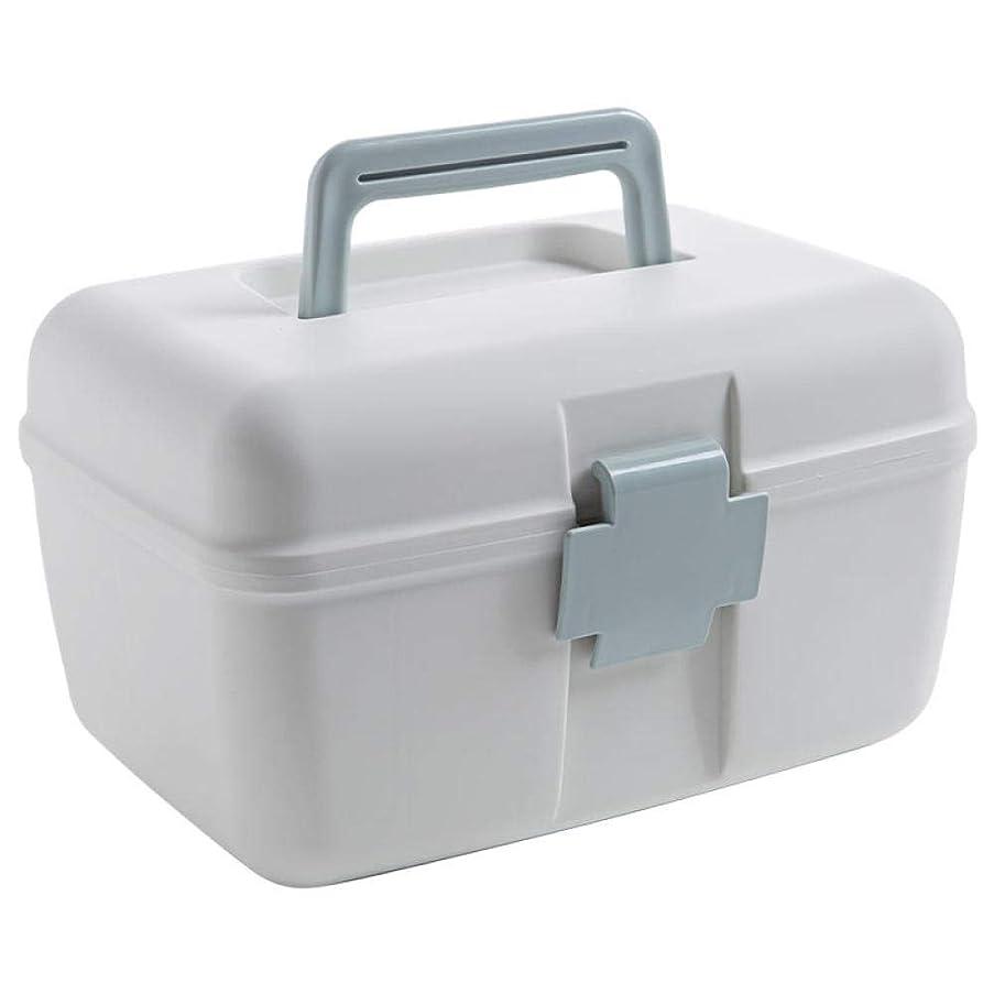 タップ干ばつエントリ二重層の薬箱家族ポータブルプラスチック小さな薬箱家庭用薬収納ボックス多層収納ボックスライトブルー