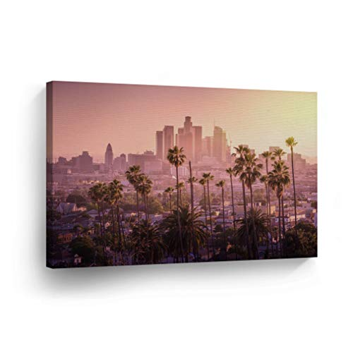 Los Angeles Wall Art Purple Sky with Palm Trees and LA Skyline Canvas Print California Home Decor Artwork Gallery Wrapped Wood Stretched and Ready to Hang - 0 Handmade in the USA - 8x12