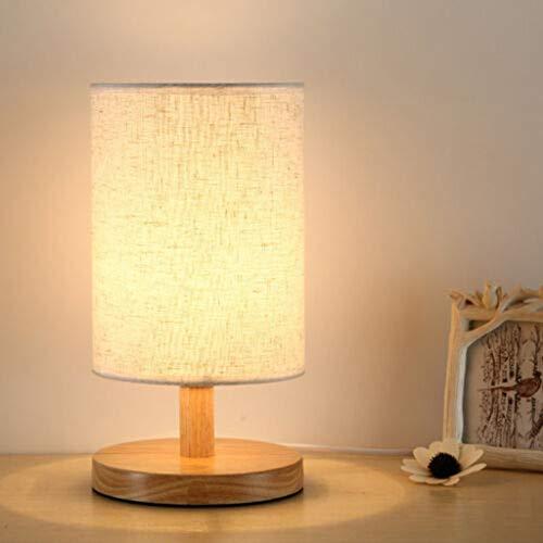 FENSIN Dimmbare Holz Nachttischlampe Warmweiß 40W Glühbirne Minimalistische Neuheit Romantische Tischleuchten