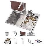 Fregadero de acero inoxidable, fregadero de cocina 304, fregadero de verduras, espesamiento de estilo múltiple con grifo, fregadero manual multifuncional de un solo lavabo 68 * 46 * 23 CM