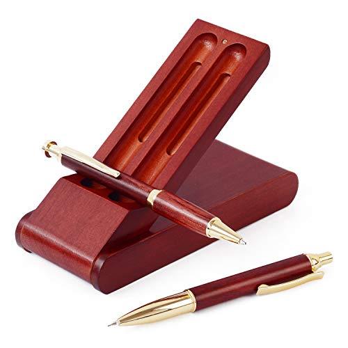 ボールペン セット 木製 シャーペン 立つ ペンケース 3点セット 高級 天然木 プレゼント ギフトボックス付 (ローズウッド)