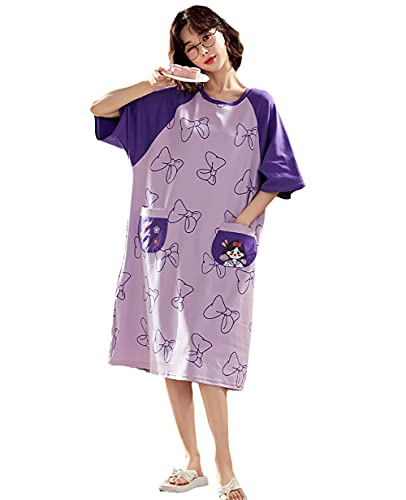 Damaibestcss Pijama corto de verano, cómodo pijama corto, pijama de verano, ropa de algodón, morado, XL
