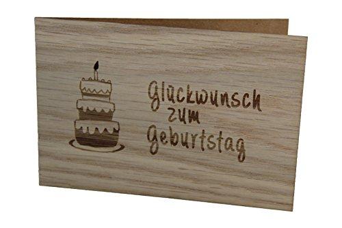 Holzgrußkarte - GLÜCKWUNSCH ZUM GEBURTSTAG - handmade in Österreich - Postkarte, Geschenkkarte, Grußkarte, Klappkarte, Karte, Einladung, Holzart:Eiche