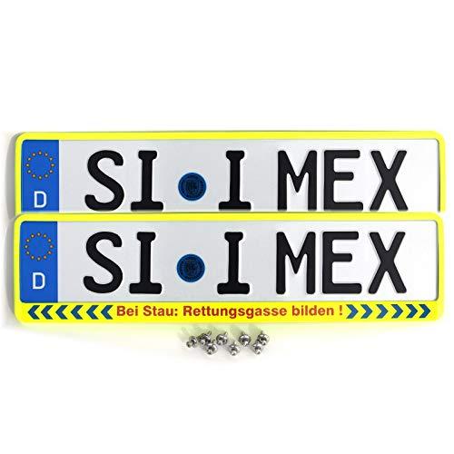 i-mex 2 x Kennzeichenhalter | Bei Stau: RETTUNGSGASSE BILDEN | NEON-GELB | inkl. 8 x Befestigungsschrauben A2 | Nummernschildhalter | DHL-Versand