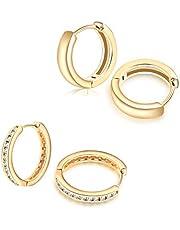 أقراط هاغي هوب مطلية بالذهب 14 قيراط أقراط صغيرة لأطواق صغيرة مكعب زركونيا غضروف قرط الأذن للنساء الفتيات
