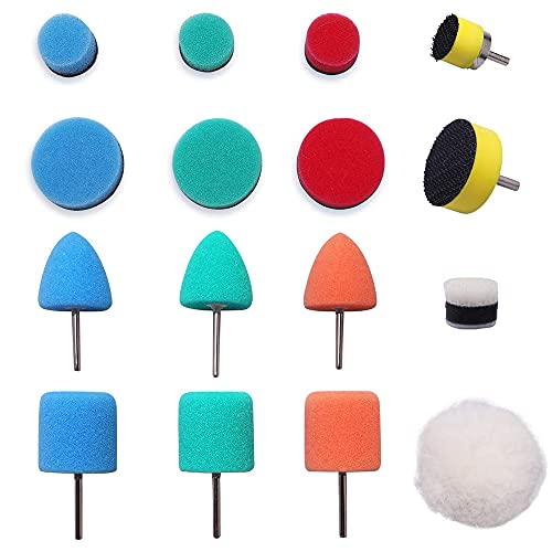 IWILCS 16Pcs Mini Detail Polierer,Schwammpolierpad,Mini Polierschwamm,Buffing Pad für Reinigungs,Autoschleifen,Polieren,Wachsen,Versiegelungsglasur