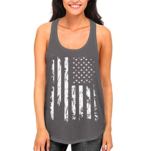 SpiritForged Apparel Distressed White USA Flag Women's Racerback Tank Top, Dark Gray Medium
