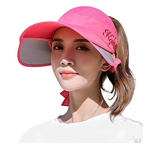 Women Sun Visor Hats Elastic Wide Brim Summer Breathable Golf Cap Ponytail Hat