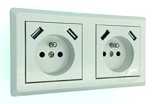 Schuko dubbel stopcontact (E-type) met elk 2 x USB-oplaadbus (max. 2800 mA) in wit, elegante stijl, past in 2-voudige inbouwdoos
