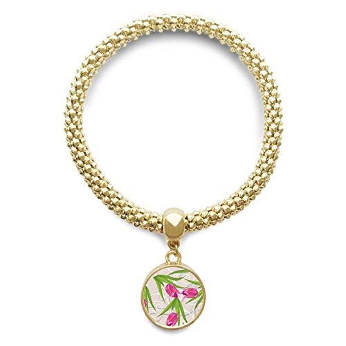 DIYthinker Damen Blätter Blume Nelke Pflanze Blume goldene Armband Laufende hängende Schmuckkette