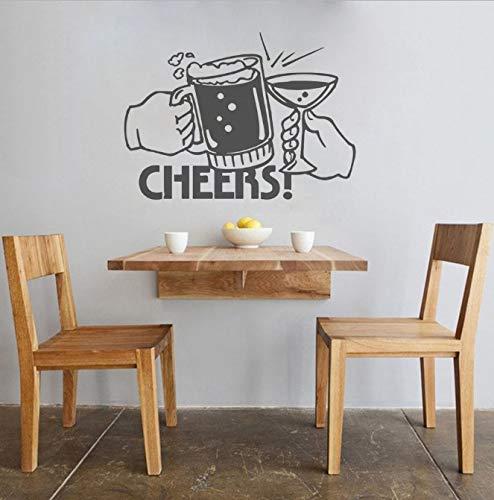 Muurstickers Keukenkunst Muurstickers Home Decoratief Muurornament Behang Bierglas Drank Proost Patroon Verwijderbaar 42X57 Cm
