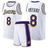 QGF Los Angeles Lakers #8 Kobe Bryant - Sudadera de baloncesto para hombre, camiseta de verano y pantalones cortos transpirables, color blanco