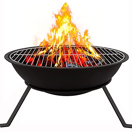 Fire Bowl with BBQ Grill Steel Fire Pit Camping Fire Pit Bowl for Garden Patio Portable Firepit Bowl Outdoor Wood Burners for BBQ, Camping, Picnic, RV Trips