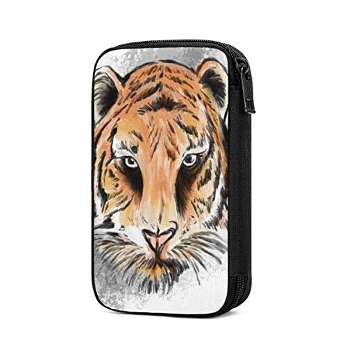 Electronic Accessories Organizer Bag Tiger Eyes Face Mascot Graphic White Travel Cable Organiser Bag,Cable Tidy Storage Case Earbuds Sleeve Pocket Accessory Wallet for Charging Cable,USB Sticks,Powerb