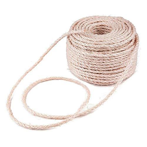 chinejaper Seil für Kratzbaum Kratzsaule Natürlich Sisal Seil, Katzen Zubehör Kratzbaum zum Bündeln von Gärten, DIY-Basteldekoration für den Haushalt 4mm/6mm