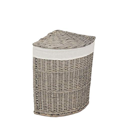 woodluv 100% Organic Full Willow Full Antique Washed Corner Laundry Basket with Liner, Medium - Smoke