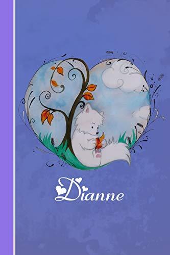 Dianne: Cahier personnalisé   Fox avec coeur   Couverture souple   120 pages   vide   Notebook   Journal intime   Scrapbook   idée cadeau